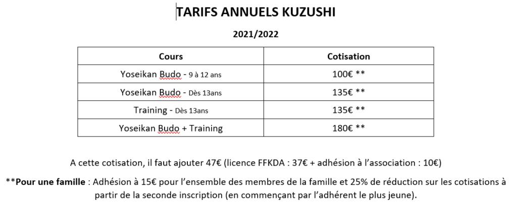 TARIFS ANNUELS 21-22
